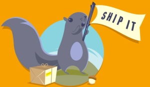 """squirrel with """"ship it"""" flag"""