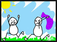 stick figure chasing another with purple trout