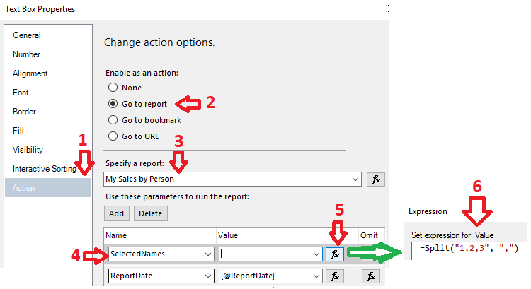 text box properties > actions > go to report > specify report > add parameters > enter expression