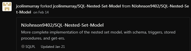 someone forked my sql nested set model on github