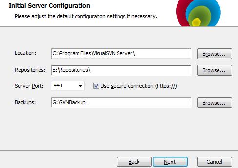 visualSVN server config screen