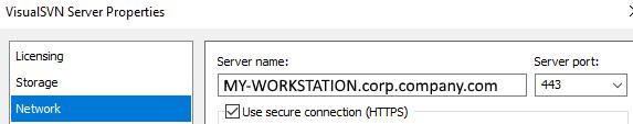 VisualSVN server properties Network tab