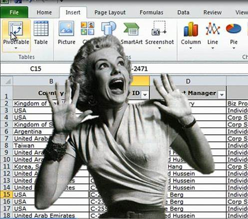 Excel spreadsheet with woman screaming in front of it
