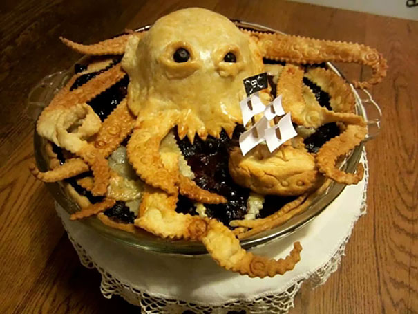 pie that looks like a kraken attacking a boat