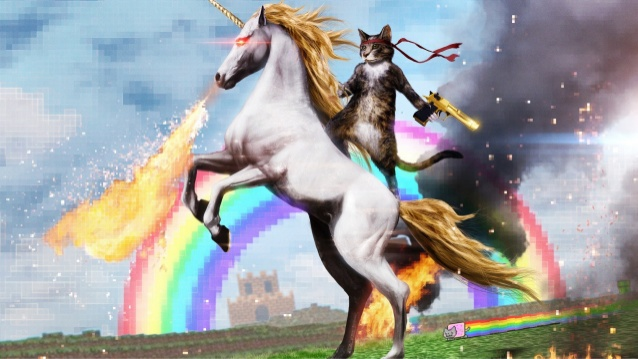ninja cat riding a unicorn with laser-eyes