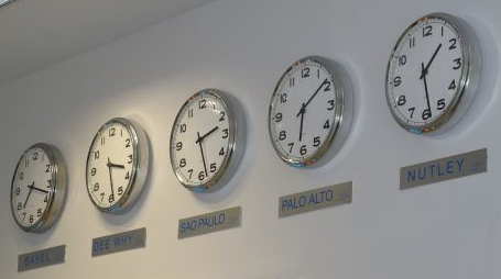 5 clocks on a wall from different time zones