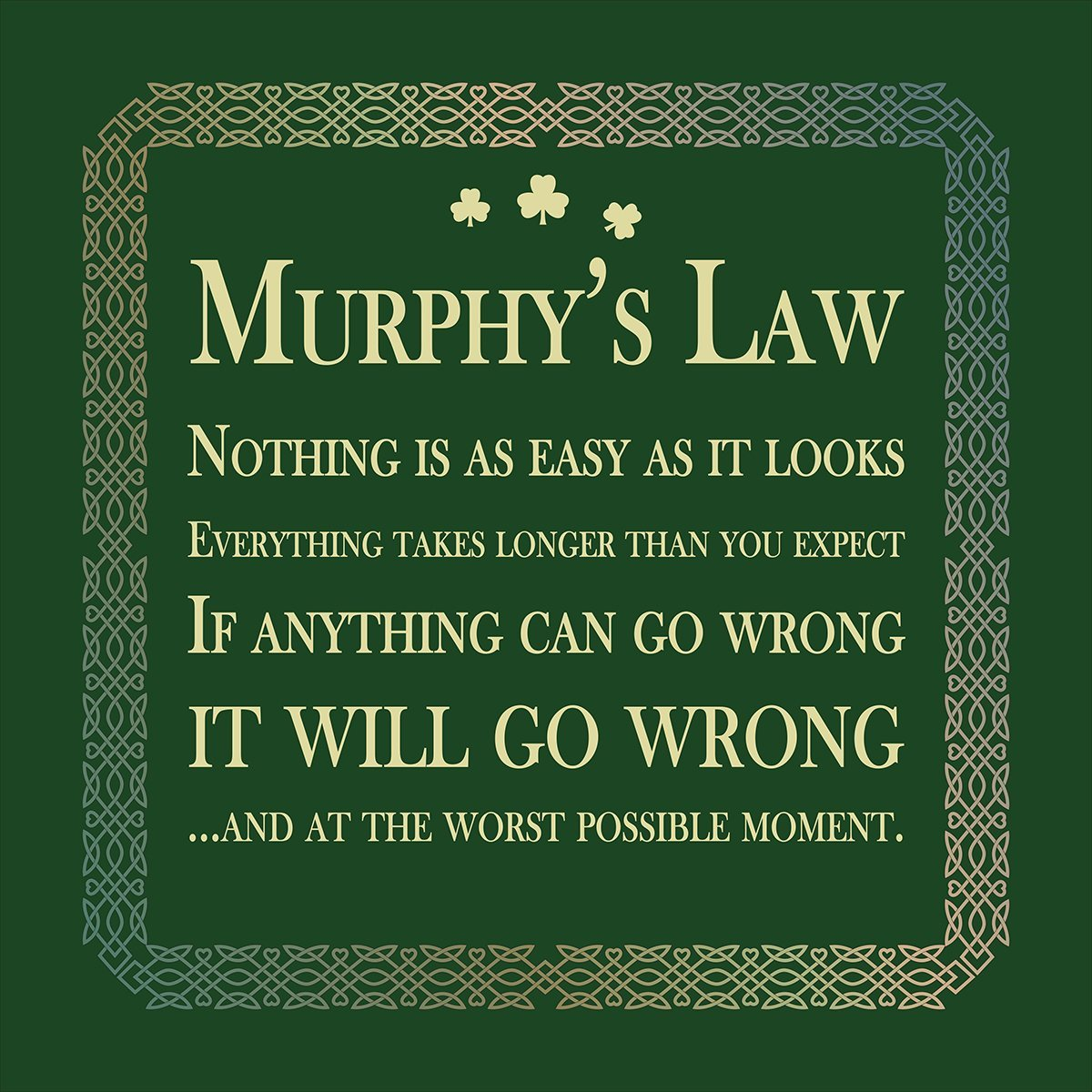 murphy's law: if anything can go wrong, it will go wrong.